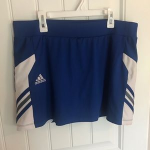 Adidas blue and white tennis skort